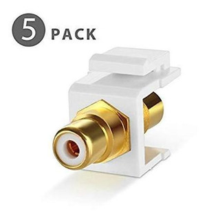Tnp Rca Keystone Jack Insert Conector (5 Pack) Socket He-2ug