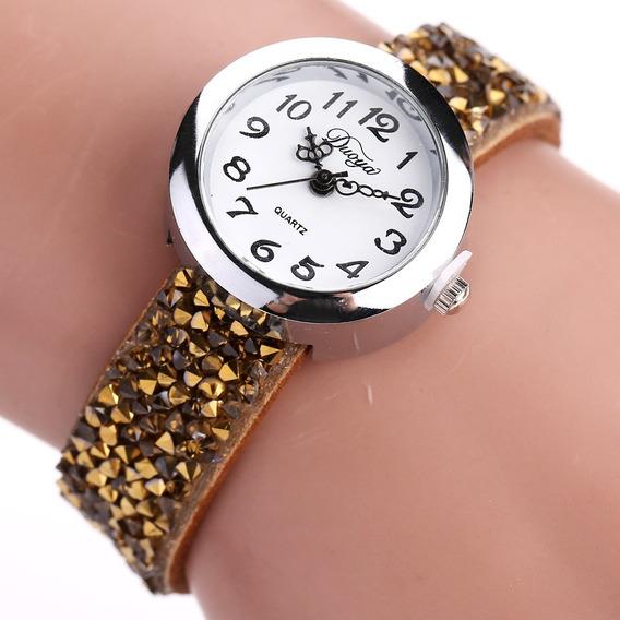 Moda De Cuarzo Reloj De Pulsera Multicolor Cuero Rhinestone