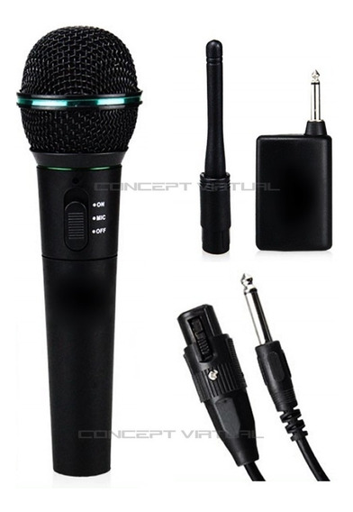 Microfone S/ Fio Profissional Cabo Transmissor Sem Fio P10