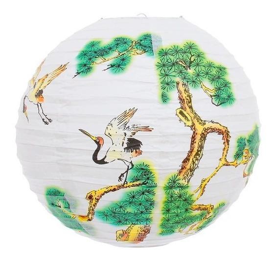 Kit 2 Lanterna Japonesa Branca Bonsai Tsuru Oriental 40cm