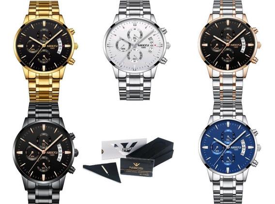 Relógio Masculino Luxo Nibosi Original Anti Riscos Promoção