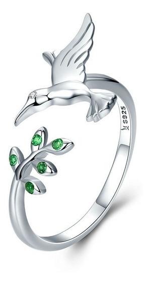 Anillo Plata S925 Colibri Zirconia Diamante Para Mujer Nuevo