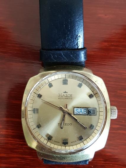 Reloj Haste Tuxedo Automatico Chapa De Oro