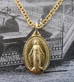Cordão Com Medalha Milagrosa Joia Ouro 18k 5.6g