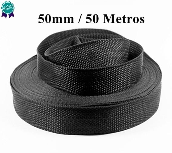 Rolo De Fita 5cm 50mm Preta 50 Metros Alta Qualidade