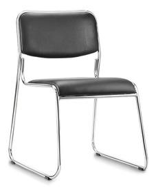 Cadeira Fixa Empilhável Dakar Cromada Para Escritório Preta