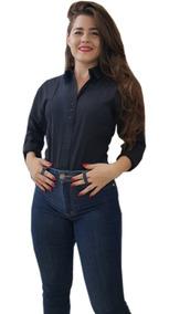 Camisa Social Formal Feminina Slim Tricoline Moda Inverno