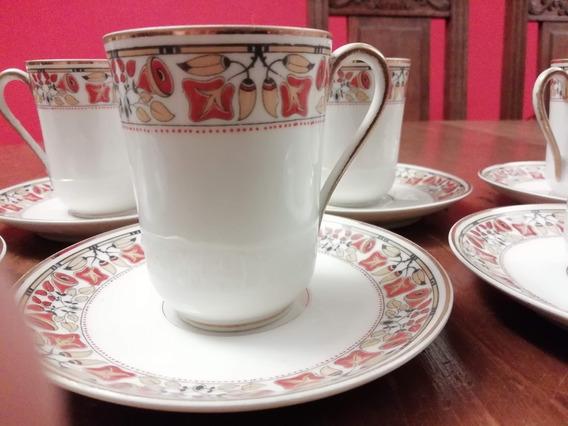 Juego Limoges Café 6 Tazas Con Platos