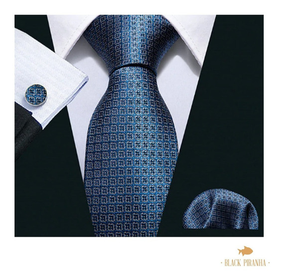Corbata Pañuelo Y Mancuernillas Azul Acero Flores Pequeñas