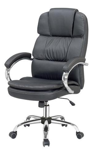 Imagen 1 de 3 de Silla de escritorio Para Tu Casa Gerencial ergonómica  negra con tapizado de cuero sintético