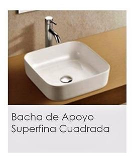 Bacha De Loza Pringles De Apoyo Cuadrada Superfina Bca