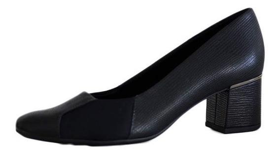 Sapato Feminino Usaflex Salto Grosso Para Joanetes 2611