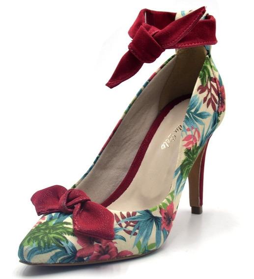 Sapato Scarpin Com Laço Salto Alto Fino