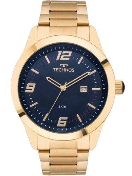 Relógio Masculino Dourado Technos Barato Original 2115mnz/4a