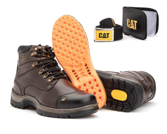 Bota Cat De Couro Legítimo, Solado Costurado+kit Brinde
