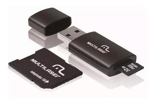 Pen Drive Multilaser 32gb 3 Em 1 + Adaptador Sd + Micro Sd