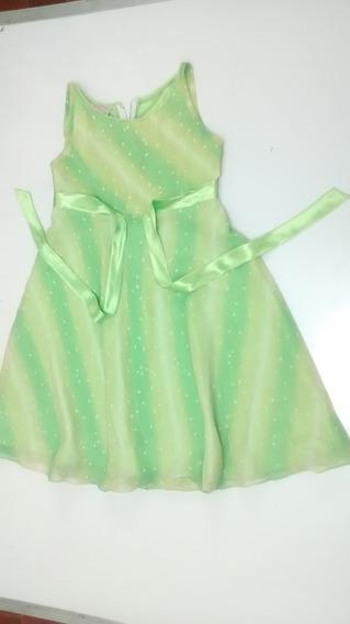 Vestido Para Niña Verde Corte Acampanado Talla 10