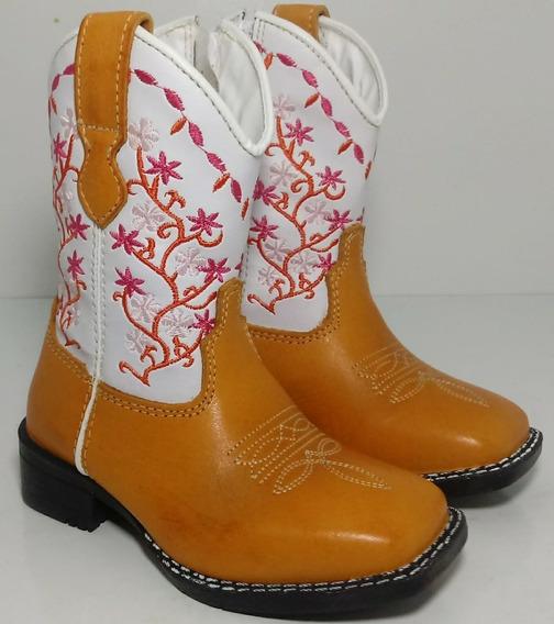 Bota Texana Country Feminina Infantil Flores 23 Ao 34