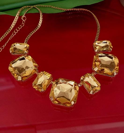 Colar Feminino Folheado Ouro 18k Cristal Alto Brilho