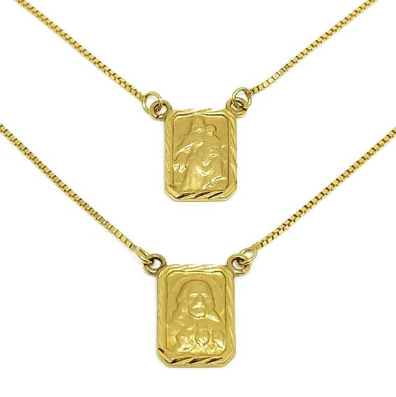 Escapulário Unissex Em Ouro 18k Veneziana Medalha Diamantada