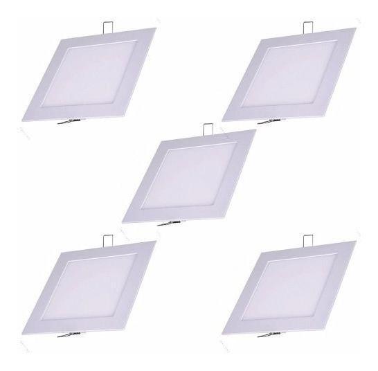 Kit 5 Plafon Luminaria Teto Embutir Quadrado 18w Led Gesso