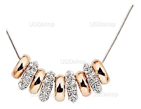 Corrente C/ Pingentes De Anéis E Cristal Strass Banhado Ouro