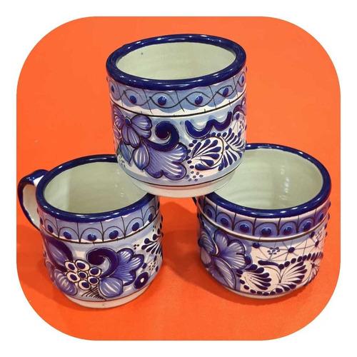 Imagen 1 de 2 de Set 4 Tazas De Talavera Poblana Azul Tradicional 300ml Tz Tl