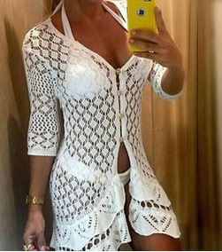 Saida Vestido Praia Blusa Vestido Crochê Branco # Top#