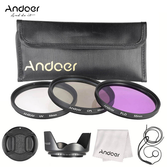 3*andoer Kit De Filtro 55mm (fld + Uv + Cpl) + Nylon Carreg