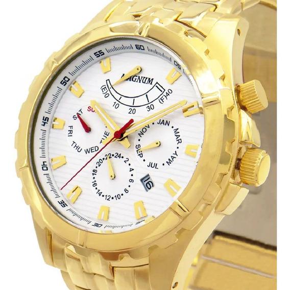 Relógio Magnum Automático Masculino Dourado Ouro Ma33988h