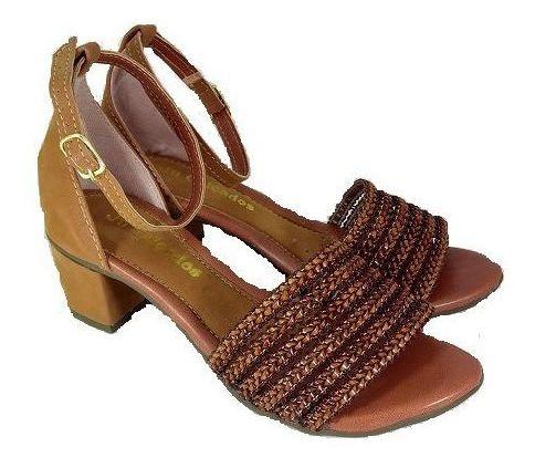 Sandalia Ju Calçados Feminino Salto Grosso