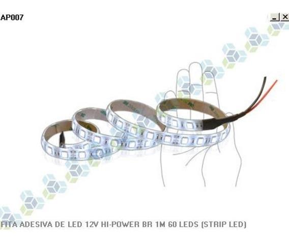 Fita 12v Led Adesiva Hi Power Branca 1m + 30cm Hi Power Azul