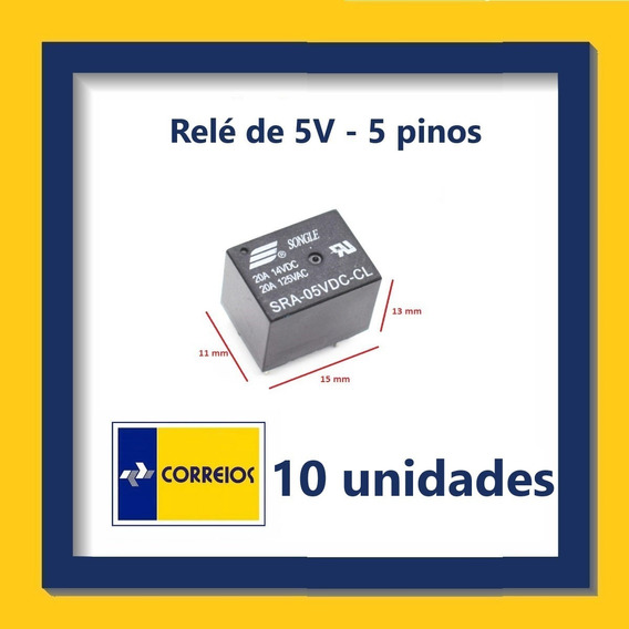 Relé De 5v - 5 Pinos - Kit Com 10 Unidades