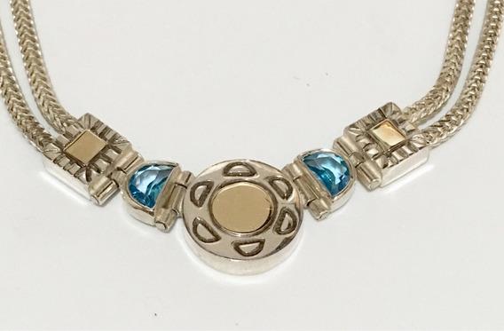 Colar Prata Com Pedra Azul E Detalhes Em Ouro Antigo Lindo !