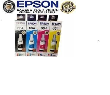 Kit Refil Tinta Original Epson 4 Cores 70ml Tenho 50 C Preta