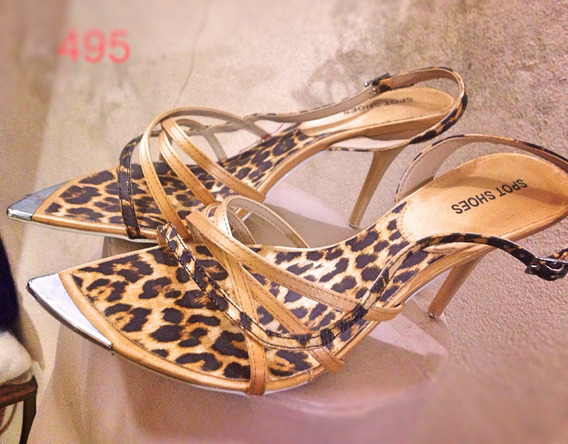 Sandália Salto Fino Onça Dourada Pontas 38 Spot Shoes®