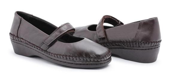 Sapato Sapatilha Feminina Boneca Couro Mácio Antiderrapante