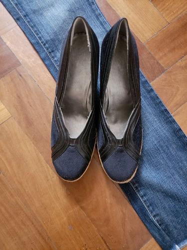 Zapatos Negros Taco Chino Gamuza Cuero Y Yute 37 Impecables