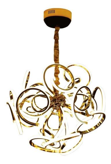 Lustre Pendente Flor Dourado Ou Prateado Led E Alumínio 270w