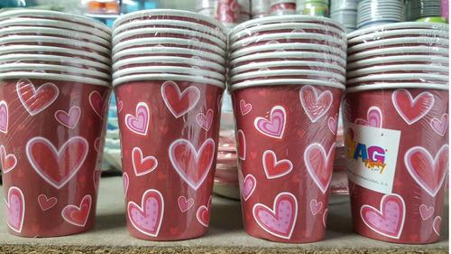 Juego Vasos Desechables Papel Corazon Love Rosado 8 Piezas