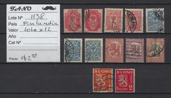 Lote1138 Finlandia Lote De 12 Estampillas Antiguas
