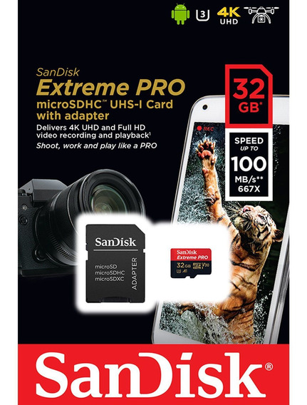 Cartão Microsd Sdhc-uhs 32gb Sandisk Extreme Pro Gopro 2-6