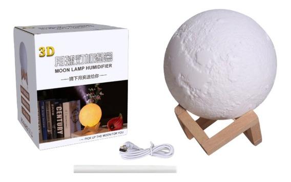 Abajur Luminária Lua Cheia 3d Umidificador De Ar Usb/touch Control 13cm 3cores