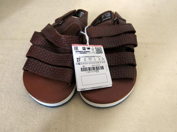 Sandália Papete Zara Infantil Em Couro Medida Da Sola 18cm