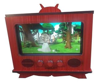Porta Smart Fone Mdf Tv Retro Pintado Vermelha Mdf Acustica