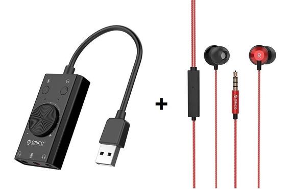 Placa Audio Som Usb Fone Microfone Pro Estéreo Orico Sc2