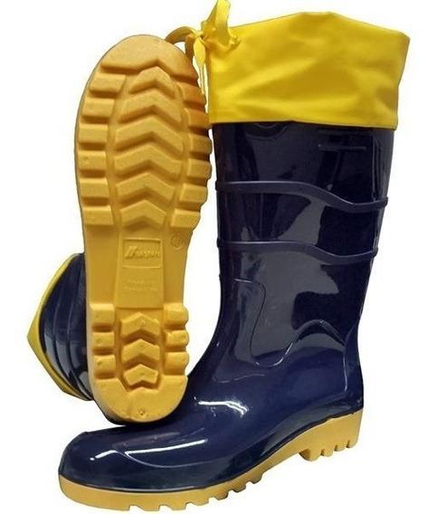 Bota Baspan Pvc Azul/amarela Nautica Cano Longo