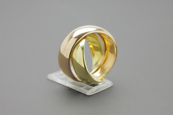 |616| Anel Em Ouro Amarelo E Rose 18k