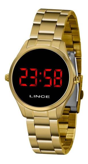 Relógio Lince Feminino Dourado Led