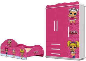 Jogo De Quarto Infantil Menina Lol Rosa -cama E Guarda-roupa